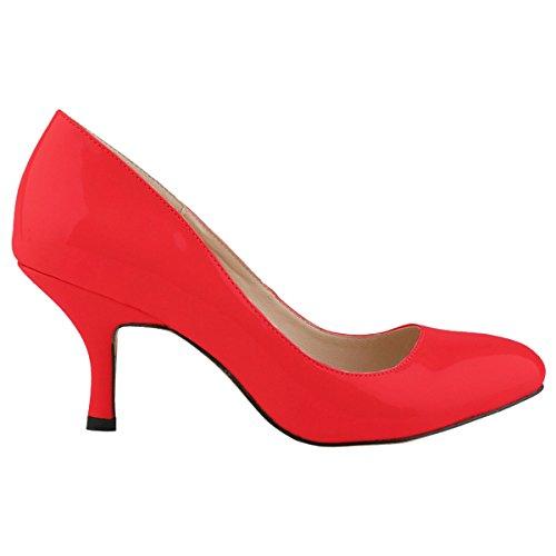 Zbeibei Women's PU Patent Leather Mid Heels Work Court ...