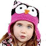 LadyMYP Handmade Knitted cap Baby cap Childrens Hat Hats 100 Wool Hat Eagle owl Black Purple