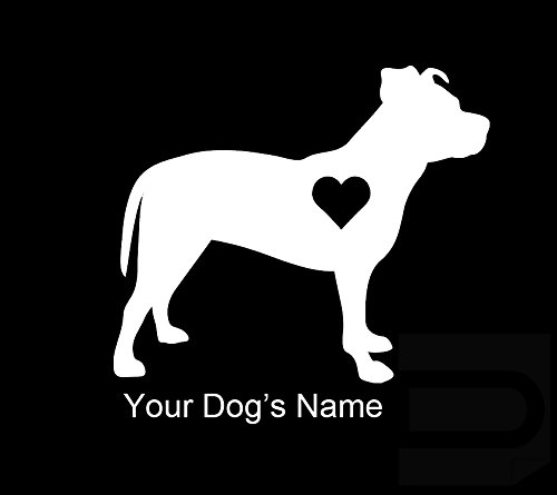 Pitbull with Heart CUSTOM CUSTOMIZED Name By Decalorize Puppy Paw Love Vinyl Decal Window Sticker For Cars, Trucks, Windows, Walls, Laptops ETC (Window Decals Pitbull compare prices)