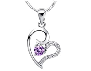 findout or blanc 18 carats plaqué Amethyst Diamond Heart Collier en argent