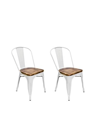 Aeon Euro Home Collection Set of 2 Garvin-2 Chairs with Wood Seats, White/Weathered