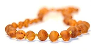 The Art of CureTM *SAFETY KNOTTED* Raw Butterscotch (Unisex) - Certified Baltic Amber Baby Teething Necklace Highest Quality Guaranteed- Anti Flammatory, Drooling & Teething Pain. Easy to Fastens with a Twist-in Screw Clasp Mothers Approved Remedies!