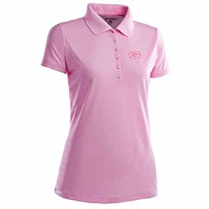 Green Bay Packers Ladies Pique Xtra Lite Polo Shirt (Pink) by Antigua