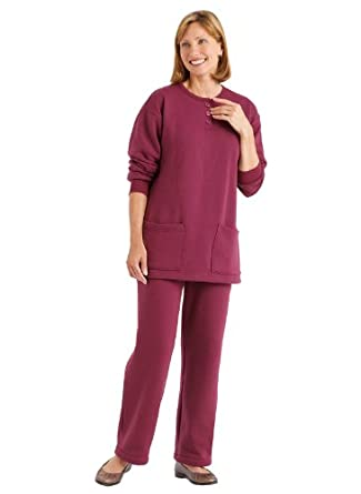 Fleece Pant Set - Misses' Sizes, Color BERRY, Size XL PET