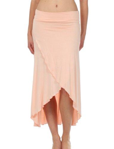 Sakkas 0326 Soft Jersey Feel Solid Color Strapless High Low Dress / Skirt - Light Peach / X-Large