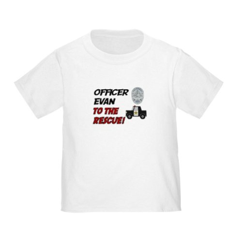 Personalized Evan To The Rescue Police Officer Policeman Baby Infant Toddler Kids Shirt Customize With Any Boy Or Girls Name, Christmas Present Custom Gift Collection front-980543