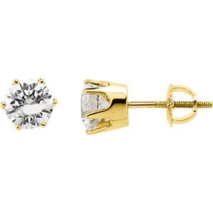 14K Yellow 6.5mm Cubic Zirconia Stud Earrings