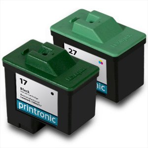 Printronic Remanufactured Ink Cartridge Replacement for Lexmark 17 27 10N0217 10N0227 (1 Black 1 Color) 2 Pack