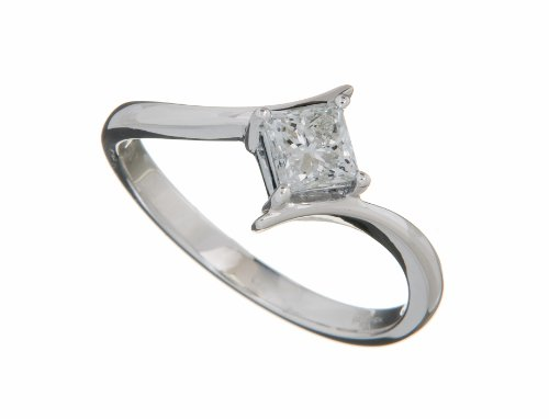 18ct White Gold Diamond Engagement Ring With Certified Princess Cut Diamond Solitaire, 1/2 Carat Diamond Weight