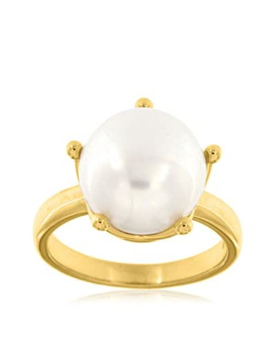 Perlaviva Anillo Polished W/ Crown Griffe & Pearl