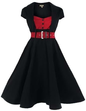 Lindy Bop 'Geneva' 1950's Vintage Inspired Swing Party Dress (XS, Black)