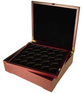 Coin Box Four Coin Mahogany Wood Display (4 Coin Display Box compare prices)