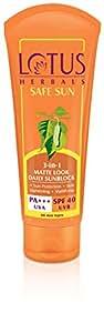 Lotus Herbals Safe Sun 3-In-1 Matte Look Daily Sunblock SPF-40, 100g