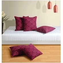 Swayam Drape And Dream Printed 5 Piece Cushion Cover Set - Magenta And Black (CC245-7021)