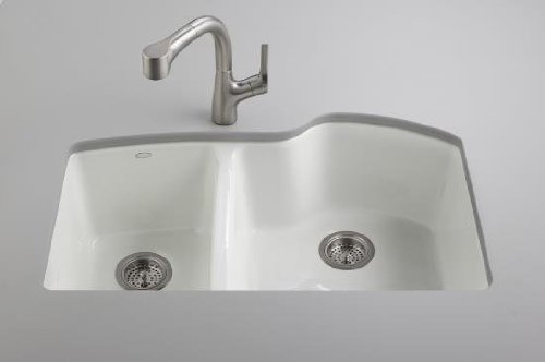 Kohler K-5870-5U-96 Wheatland Undercounter Offset Double Basin Sink with Five-Hole Faucet Drilling, Biscuit