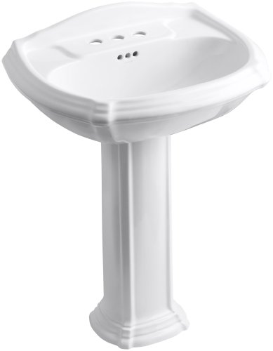 KOHLER K-2221-4-0 Portrait Pedestal Bathroom Sink with 4