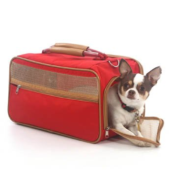 Bark N Bag Classic Nylon Pet Dog Carrier Soft Sided Crate Bag Airline Approved Medium Red/tan