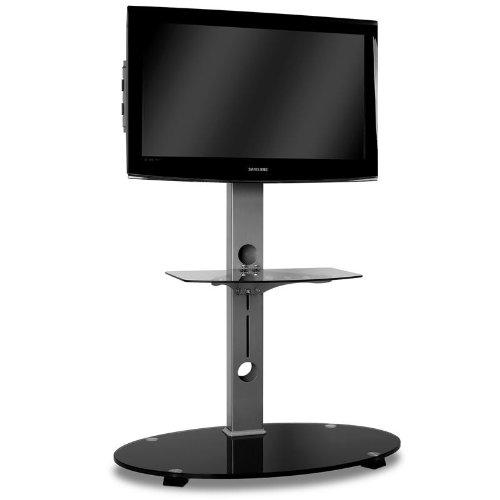 supports tv support tv aluminium verre noir. Black Bedroom Furniture Sets. Home Design Ideas