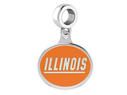 Illinois Fighting Illini Sterling Silver Enamel Drop Charm Fits All European Style Beaded Charm Bracelets