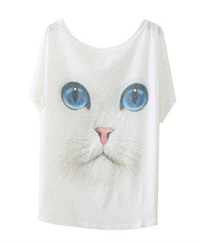 """Luna et Margarita Donna bianca manica a pipistrello modello T-shirt """"gatto dagli occhi blu"""" formato misto cotone girocollo 40 42"""