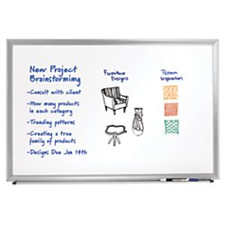 Foray(Tm) Aluminum-Framed Dry-Erase Board With Marker, 18In. X 24In., White Board, Silver Frame