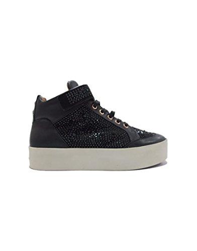 Sneaker Alexander Smith 2017 - Scarpa in pelle alta nera con fibia e brillantini