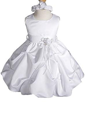 073650013 AMJ Dresses Inc Baby-girls White Flower Girl Christening Dress Sizes S to 4t