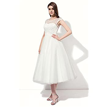 Firose Vintage 1950s Style Polka Dotted Tea Length Little Wedding Dress