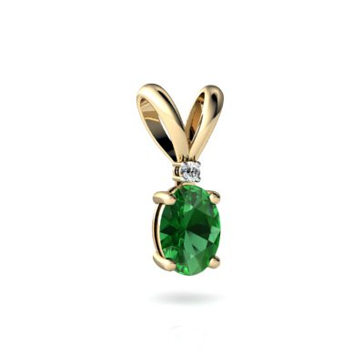 Created Emerald 14ct Yellow Gold Pendant