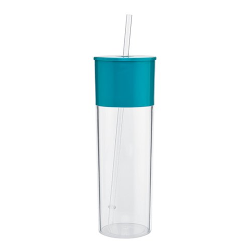 Cold Single Wall Sleek And Tall Acrylic Tumbler, 22Oz. Capacity - Aqua back-1020410