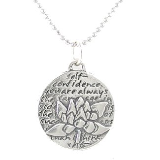 "Small Round Reversible Lotus Flower Pendant with Words of Inspiration on an 18"" Rhodium Diamond Cut Ball Chain, #8227"