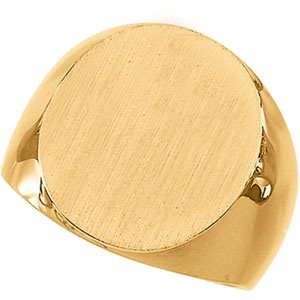 10K Yellow Gold Men's Signet Ring With Brush Finished Top