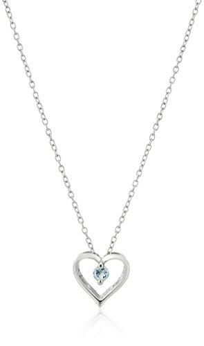 "Sterling Silver Blue Topaz Heart Pendant, 18"""
