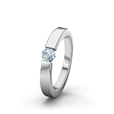 21DIAMONDS Women's Ring Livorno Blue Topaz Diamond Engagement Ring - Silver Engagement Ring
