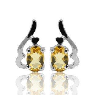 6*4mm Natural Gem luxury Citrine 925 Sterling Silver Earring stud Gift 007
