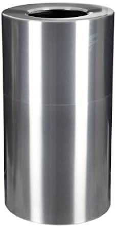 "Witt Industries AL35-CLR Aluminum 35-Gallon Decorative Trash  Can with Rigid Plastic Liner, Round, 18"" Diameter x 32"" Height, Clear Coat"