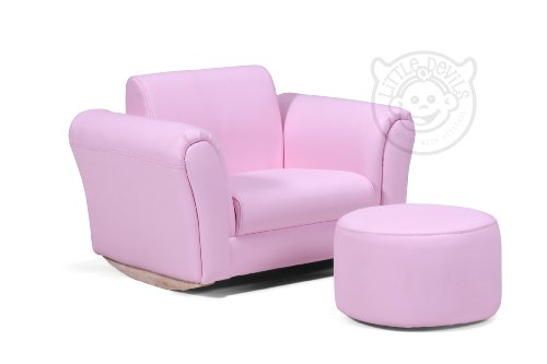 PINK LAZYBONES LEATHER ROCKING Chair Armchair Kids Childrens with FREE Footstool (GENUINE LEATHER)