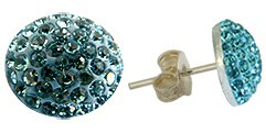 Silver crystal Stud Earrings by GlitZ JewelZ © - bling bling!! - made with over 40 swarovski crystals - comes packed inside a lovely velvet pouch - Aquamarine color