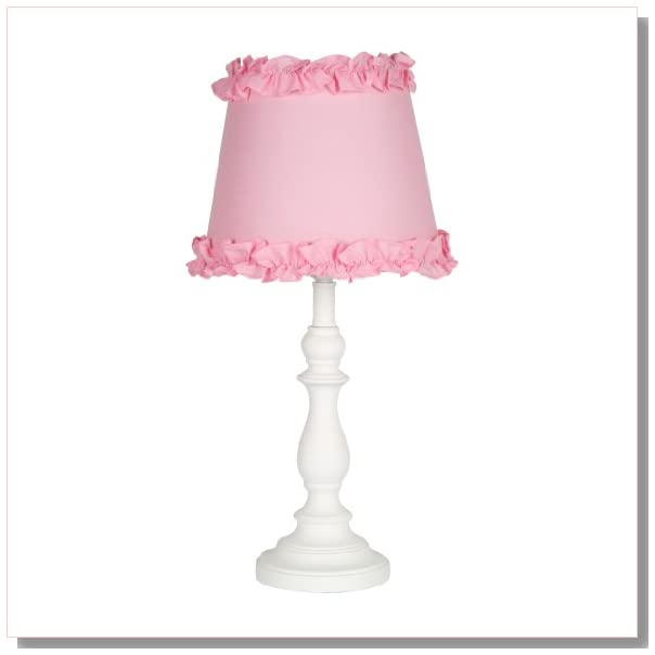 princess girls table or desk lamp with pink ruffle shade. Black Bedroom Furniture Sets. Home Design Ideas