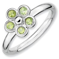 0.35ct Keep Me Silver Stackable Peridot Flower Ring. Sizes 5-10