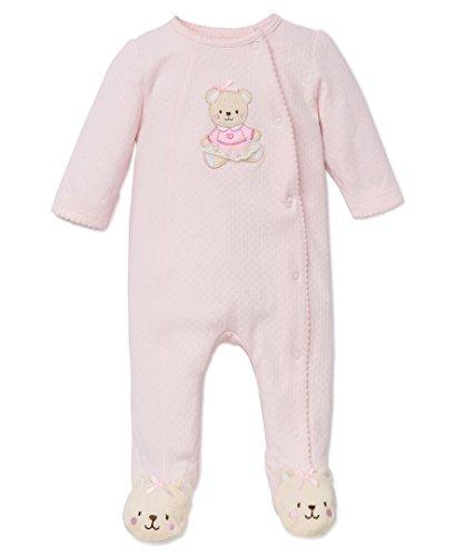 Little Me Baby-Girls Sweet Bear Footie, Light Pink, Newborn