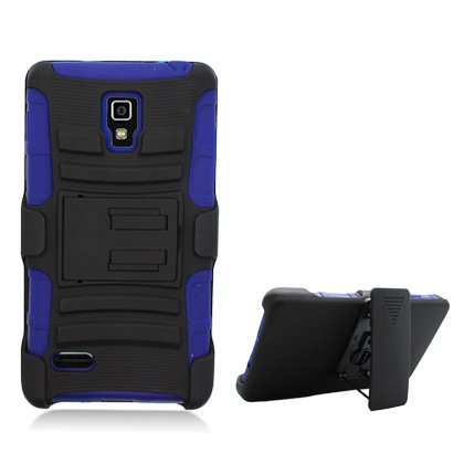 Cell Accessories For Less (Tm) For Lg P769/ Optimus L9/ Optimus 4G Black Armor W/Stand Navy Skin & Black Belt Clip + Bundle (Stylus & Micro Cleaning Cloth) - By Thetargetbuys