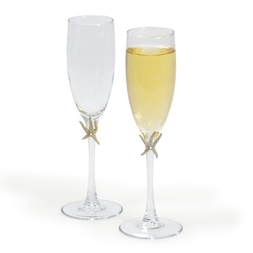 Cathy's Concepts Beach Champagne Flutes, Ivory