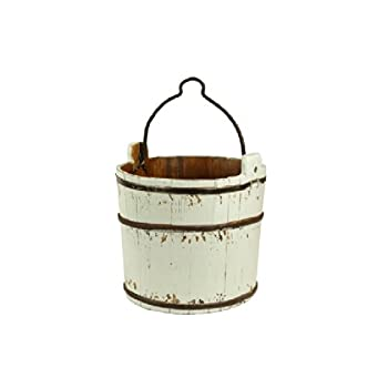 Antique Revival Classic Wooden Water Bucket, White