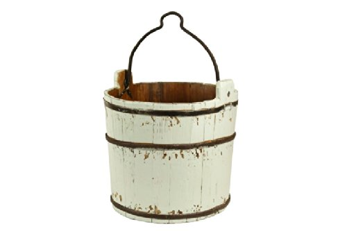 Antique Revival Classic Wooden Water Bucket, White 0