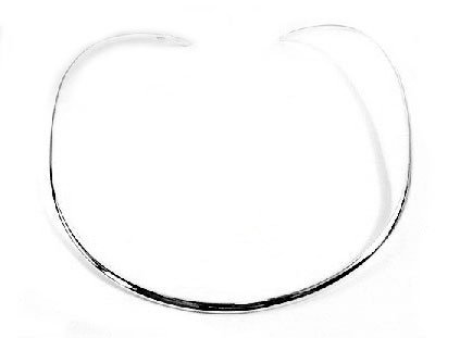 "3mm Wide Hammered Finish Sterling Silver 17"" V Collar Choker Neckwire Necklace"