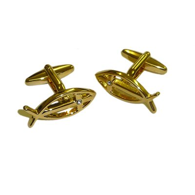 Gold Plated Christian Icthus with Crystal Detail Cufflinks. (AJ171)