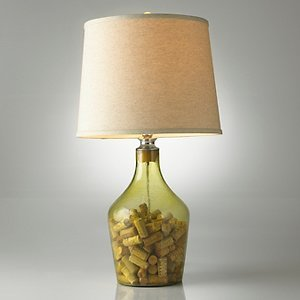 Napa glass cork catcher table lamp light tan shade for Wine cork lampshade