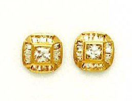 14ct Yellow Gold Princess and Baguette CZ Fancy Earrings