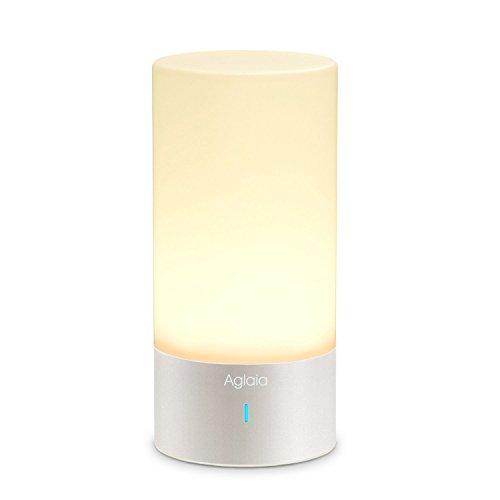 Aglaia Luce Notturna per Camera da Letto, Lampada da Comodino con 3 Livelli di Luminosità (6W Max), LED Luce Atmosfera con16 Milioni di Colore Controllo con Touch Dimmer 360° su Base in Alluminio.